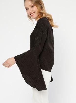 Volan Detaylı Bluz - Siyah - Koton Ürün Resmi