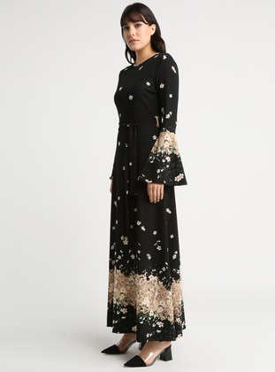 Black - Multi - Crew neck - Unlined - Dresses