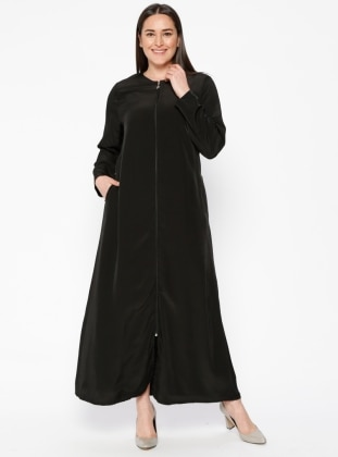 Black - Crew neck - Unlined - Plus Size Abaya - ModaNaz 411876