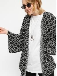 Desenli Salaş Ceket - Siyah - Koton