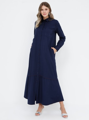 4a487e184 Navy Blue - Unlined - Point Collar - Plus Size Dress
