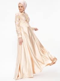 Akşın Abiye Elbise - Pudra Gold - Nurbanu Kural