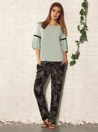 Baskılı Pijama Takımı - Mint Yeşili - Gizzey