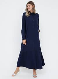 Navy Blue - Unlined - Point Collar - Plus Size Dress