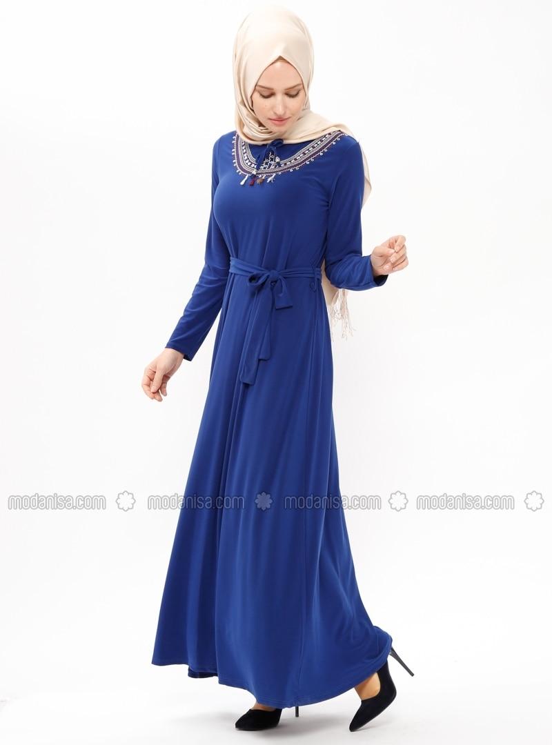 royalblau stehkragen ohne innenfutter hijab kleid zenane. Black Bedroom Furniture Sets. Home Design Ideas