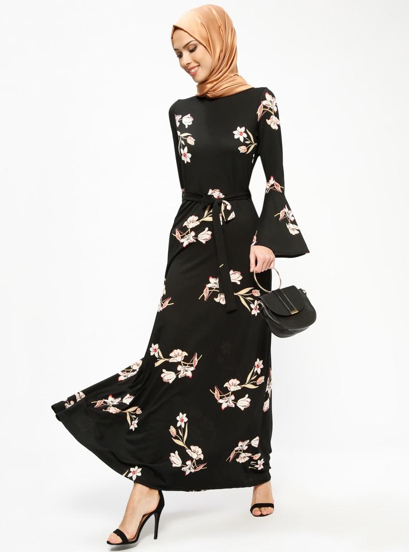 Tesettür Elbise Miss Cazibe Siyah Somon Kadın 44