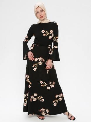 Black - Salmon - Floral - Crew neck - Unlined - Dresses - Miss Cazibe