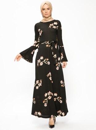 Black - Salmon - Floral - Crew neck - Unlined - Dresses - Miss Cazibe
