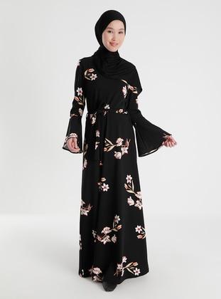 Black - Salmon - Floral - Crew neck - Unlined - Dresses