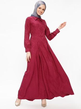 Pink - Fuchsia - Point Collar - Unlined - Dresses