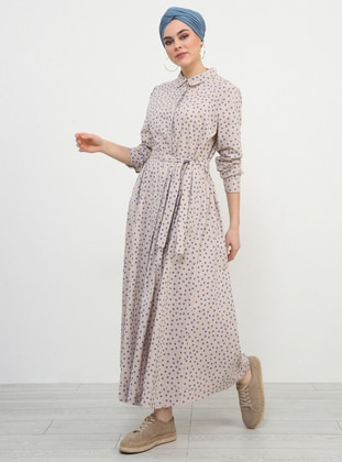 Blue - Polka Dot - Point Collar - Unlined - Cotton - Dresses