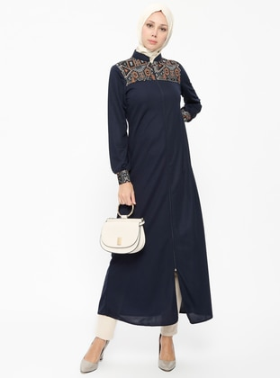 Navy Blue - Unlined - Crew neck - Abaya