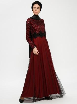 Robe soiree rouge bordeau