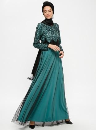 Black Mint Unlined Crew Neck Muslim Evening Dress