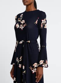 Navy Blue - Salmon - Floral - Crew neck - Unlined - Dresses