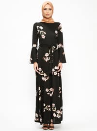 Black - Salmon - Floral - Crew neck - Unlined - Dresses