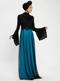 Güpürlü Abiye Elbise - Mavi Siyah - Tavin