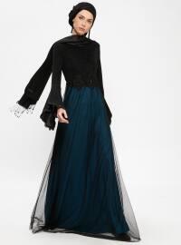 Güpürlü Abiye Elbise - Petrol Siyah - Tavin