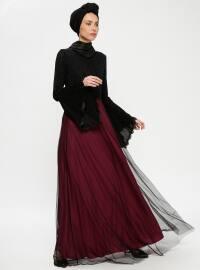 Güpürlü Abiye Elbise - Vişne Siyah - Tavin