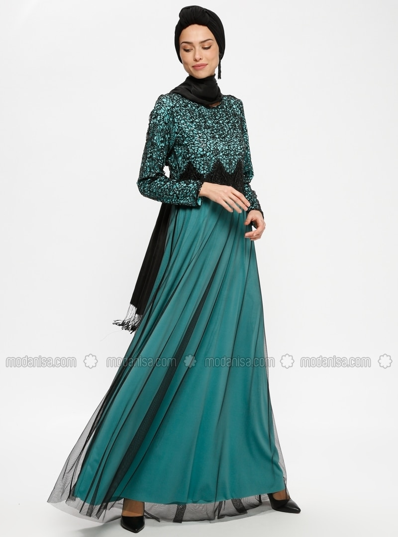 Black - Mint - Unlined - Crew neck - Muslim Evening Dress - Tavin