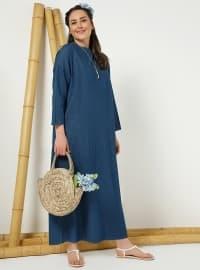 Doğal Kumaştan Kot Elbise - Lacivert - Alia