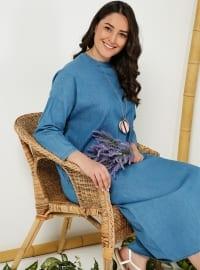 Doğal Kumaştan Kot Elbise - Mavi - Alia