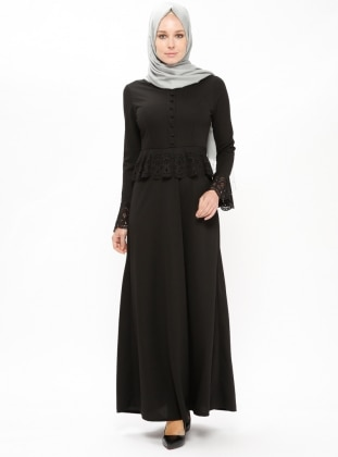 Black – Crew Neck – Unlined – Dresses – Zenane