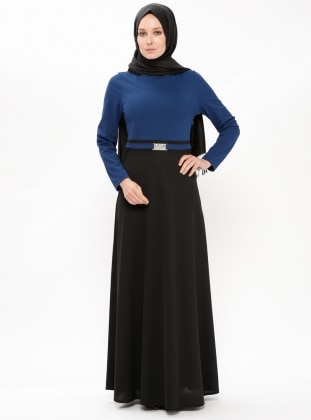 Blue – Crew Neck – Unlined – Dresses – Zenane