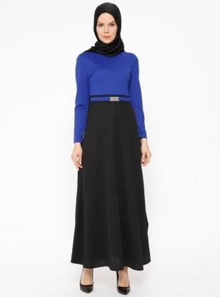 Black – Saxe – Crew Neck – Unlined – Dresses – Zenane