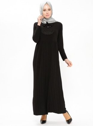 Black – Point Collar – Unlined – Dresses – Zenane