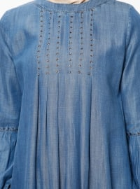 Navy Blue - Crew neck - Unlined - Denim - Dresses