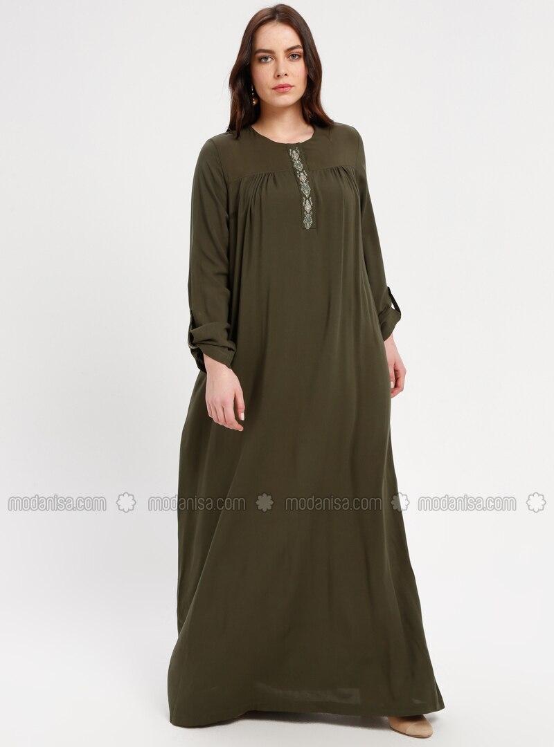Khaki - Unlined - Crew neck - Plus Size Dress - BAGİZA