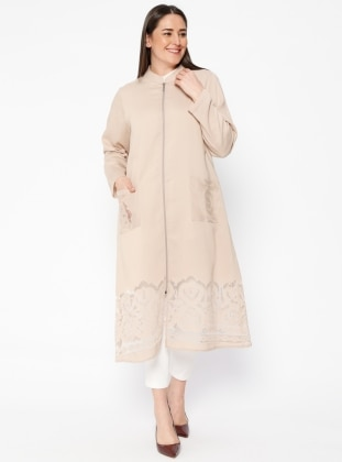 Beige - Unlined - Crew neck - Plus Size Coat