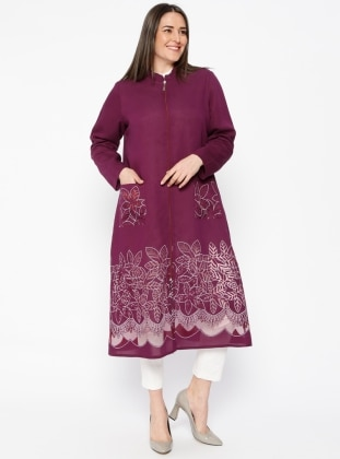 Purple - Unlined - Crew neck - Plus Size Coat