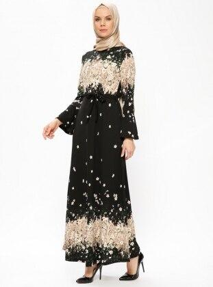 Black - Multi - Crew neck - Unlined - Dresses - Dadali 414095