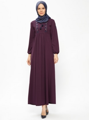 Purple - Crew neck - Unlined - Dresses - Dadali 414087
