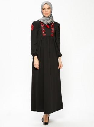 Black - Crew neck - Unlined - Dresses - Dadali 414086