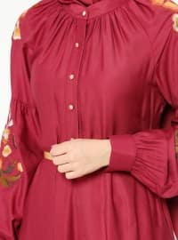 Pink - Purple - Button Collar - Unlined - Dresses
