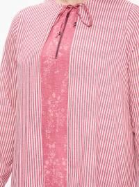 Pink - Stripe - Crew neck - Plus Size Tunic