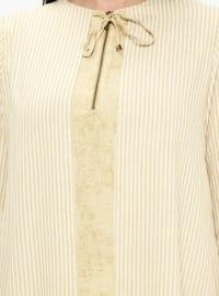 Yellow - Stripe - Crew neck - Plus Size Tunic