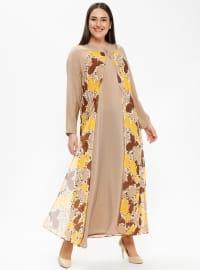 Yellow - Multi - Unlined - Crew neck - Plus Size Dress