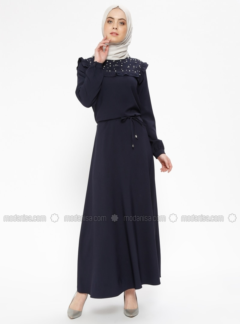4d25567f01a Navy Blue Polo neck Unlined Dresses CML Collection