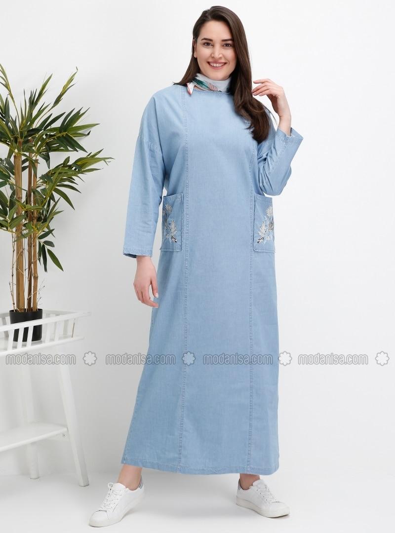 Blue - Unlined - Crew neck - Denim - Plus Size Dress