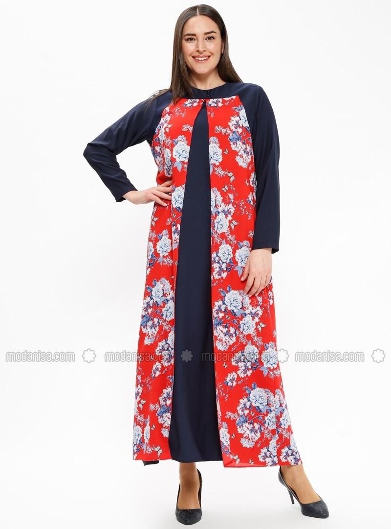 b74e55f8d2676 Rouge - Multicolore - Tissu non doublé - Col rond - Robe grande taille