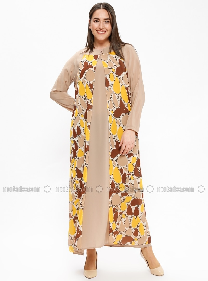 f810ad1294d Yellow - Multi - Unlined - Crew neck - Plus Size Dress