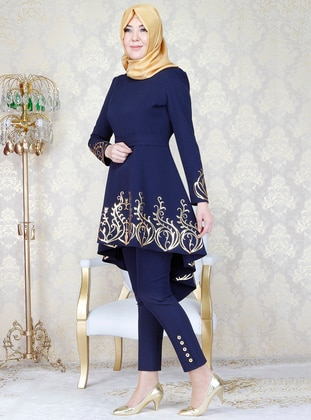 39f6a92446934 Navy Blue - Unlined - Crew neck - Muslim Evening Dress