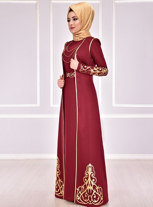 Maroon - Gold - Multi - Unlined - Crew neck - Muslim Evening Dress