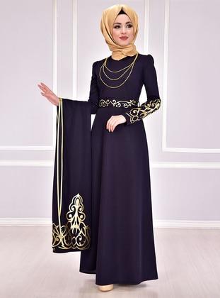 Navy Blue - Gold - Multi - Unlined - Crew neck - Muslim Evening Dress
