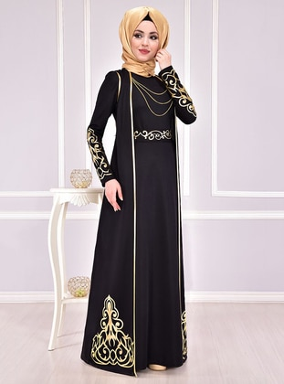 Black - Unlined - Crew neck - Muslim Evening Dress - AYŞE MELEK TASARIM
