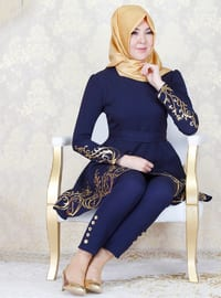 Navy Blue - Unlined - Crew neck - Muslim Evening Dress